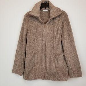 Susan Graver fleece zip up long  jacket size M